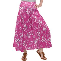 Fancy Floral Pattern Satin Palazzo Pants by tarastyle