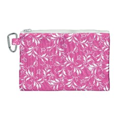 Fancy Floral Pattern Canvas Cosmetic Bag (large)