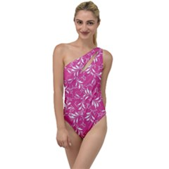 Fancy Floral Pattern To One Side Swimsuit