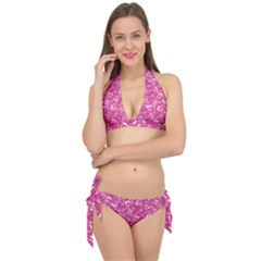 Fancy Floral Pattern Tie It Up Bikini Set