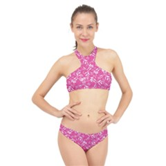 Fancy Floral Pattern High Neck Bikini Set