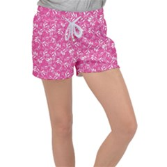 Fancy Floral Pattern Women s Velour Lounge Shorts