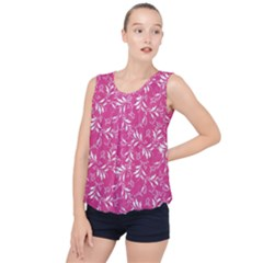 Fancy Floral Pattern Bubble Hem Chiffon Tank Top