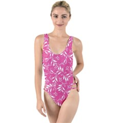 Fancy Floral Pattern High Leg Strappy Swimsuit