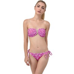 Fancy Floral Pattern Twist Bandeau Bikini Set