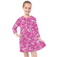 Fancy Floral Pattern Kids  Quarter Sleeve Shirt Dress
