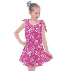 Fancy Floral Pattern Kids  Tie Up Tunic Dress