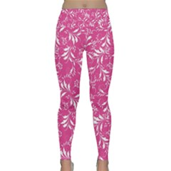 Fancy Floral Pattern Lightweight Velour Classic Yoga Leggings by tarastyle