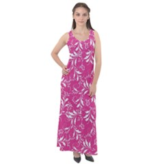 Fancy Floral Pattern Sleeveless Velour Maxi Dress