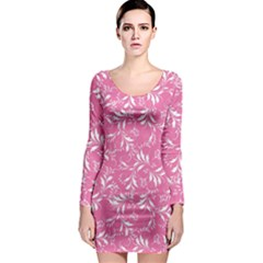 Fancy Floral Pattern Long Sleeve Bodycon Dress