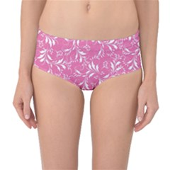 Fancy Floral Pattern Mid Waist Bikini Bottoms