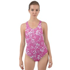 Fancy Floral Pattern Cut Out Back One Piece Swimsuit