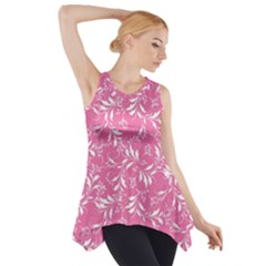 Fancy Floral Pattern Side Drop Tank Tunic