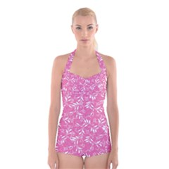 Fancy Floral Pattern Boyleg Halter Swimsuit