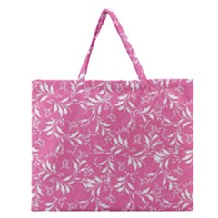 Fancy Floral Pattern Zipper Large Tote Bag