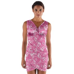 Fancy Floral Pattern Wrap Front Bodycon Dress