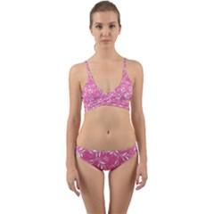 Fancy Floral Pattern Wrap Around Bikini Set