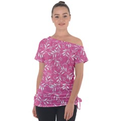 Fancy Floral Pattern Tie Up Tee