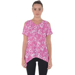Fancy Floral Pattern Cut Out Side Drop Tee