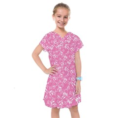 Fancy Floral Pattern Kids  Drop Waist Dress