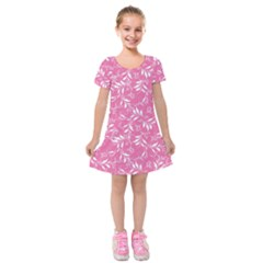 Fancy Floral Pattern Kids  Short Sleeve Velvet Dress