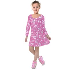 Fancy Floral Pattern Kids  Long Sleeve Velvet Dress