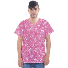 Fancy Floral Pattern Men s V Neck Scrub Top