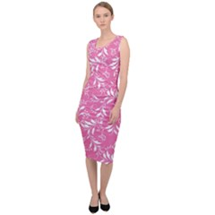 Fancy Floral Pattern Sleeveless Pencil Dress