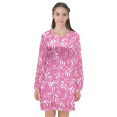 Fancy Floral Pattern Long Sleeve Chiffon Shift Dress