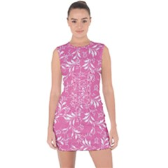 Fancy Floral Pattern Lace Up Front Bodycon Dress