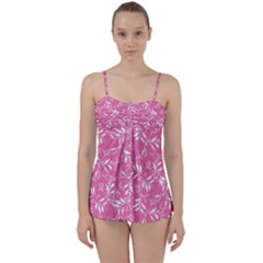 Fancy Floral Pattern Babydoll Tankini Set