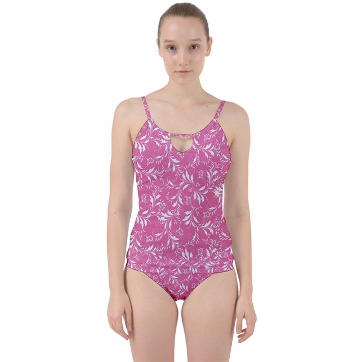 Fancy Floral Pattern Cut Out Top Tankini Set