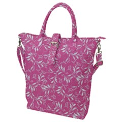 Fancy Floral Pattern Buckle Top Tote Bag