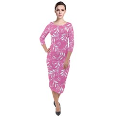 Fancy Floral Pattern Quarter Sleeve Midi Velour Bodycon Dress
