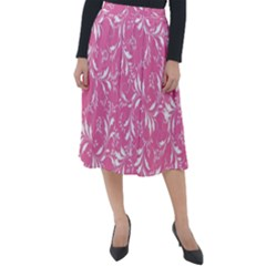 Fancy Floral Pattern Classic Velour Midi Skirt