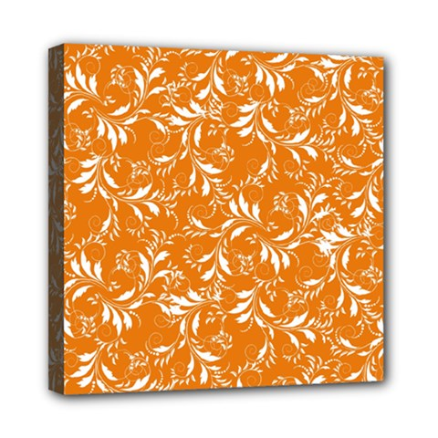 Fancy Floral Pattern Mini Canvas 8  X 8  (stretched)
