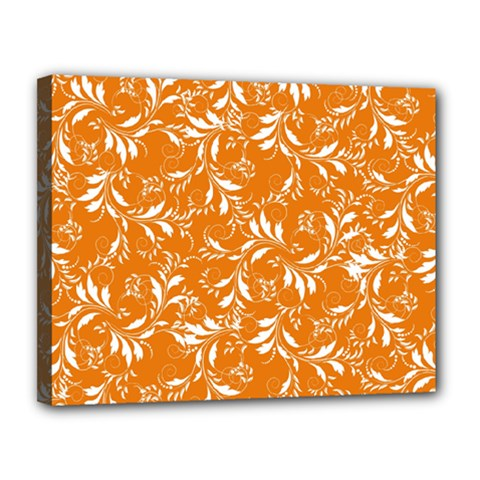 Fancy Floral Pattern Canvas 14  X 11  (stretched)