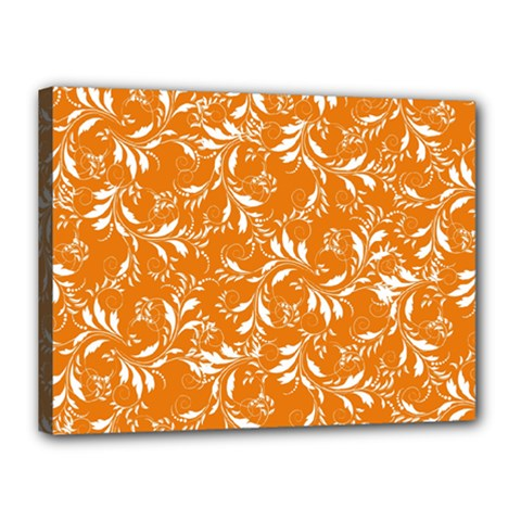 Fancy Floral Pattern Canvas 16  X 12  (stretched)