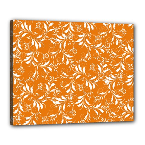 Fancy Floral Pattern Canvas 20  X 16  (stretched)