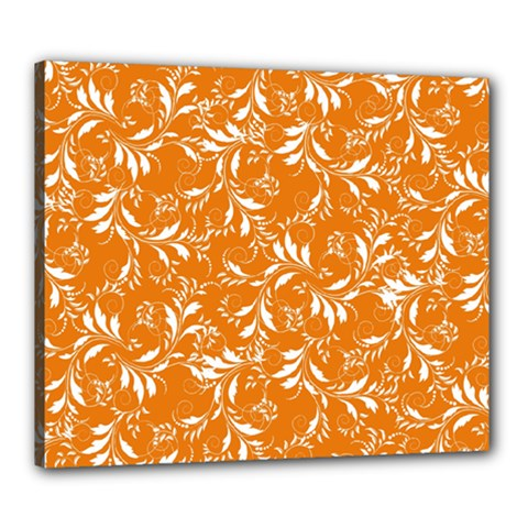 Fancy Floral Pattern Canvas 24  X 20  (stretched)