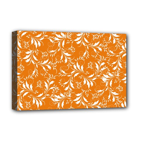 Fancy Floral Pattern Deluxe Canvas 18  X 12  (stretched)