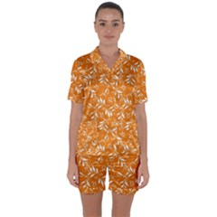Fancy Floral Pattern Satin Short Sleeve Pyjamas Set