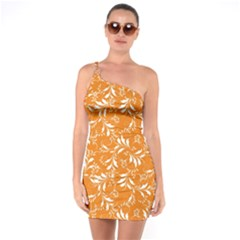 Fancy Floral Pattern One Soulder Bodycon Dress
