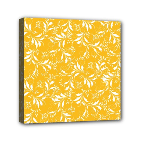 Fancy Floral Pattern Mini Canvas 6  X 6  (stretched)