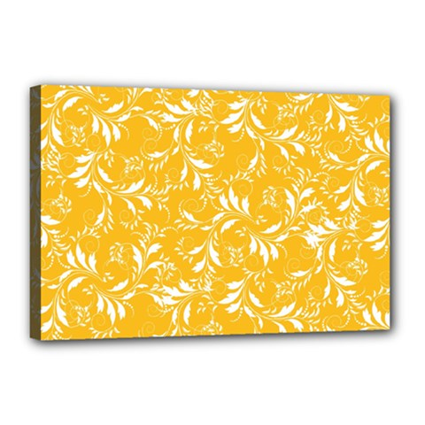 Fancy Floral Pattern Canvas 18  X 12  (stretched)