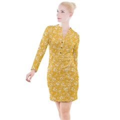 Fancy Floral Pattern Button Long Sleeve Dress by tarastyle