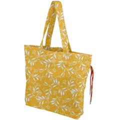 Fancy Floral Pattern Drawstring Tote Bag