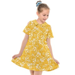 Fancy Floral Pattern Kids  Short Sleeve Shirt Dress