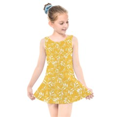 Fancy Floral Pattern Kids  Skater Dress Swimsuit