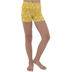 Fancy Floral Pattern Kids  Lightweight Velour Yoga Shorts